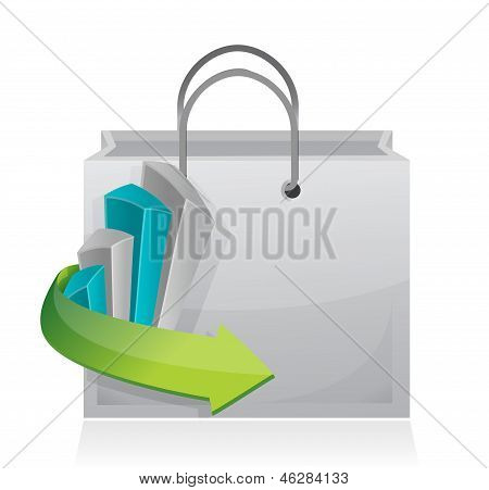 Business Graph Shopping Bag Illustration Design