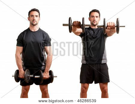 Personal Trainer doing front dumbell raises for training his deltoids isolated in white poster