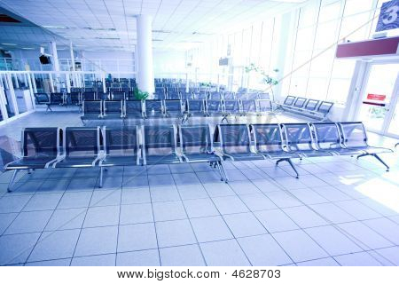 waiting room place in airport perspective view poster