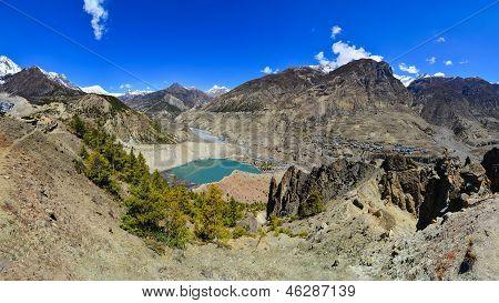 Himalayas Mountain Range Panorama With Village