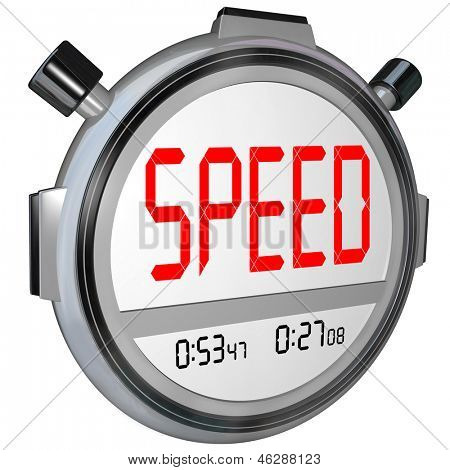 A stopwatch with the word Speed, illustrating fast response or a quick time result in a race or other sporting event, also symbolizing responsive customer service or other business support poster