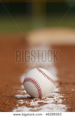 Baseball on the Infield Chalk Line with room for copy poster