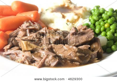 Pot Roast Dinner Mashed Potatoes Carrots Green Peas