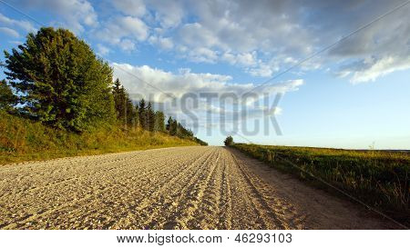 August landscape with a road