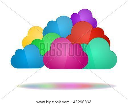Набор цвета облаков - облачных вычислений концепции