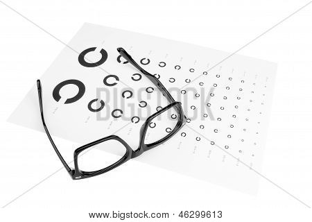 Table For An Eye Examination By An Ophthalmologist. Dark Glasses.