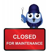 Comical website closed for maintenance sign isolated on white background poster