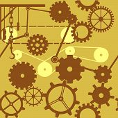 Different sizes of gears cogs and wheels in a seamless tile. poster