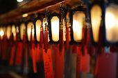 Interior lanterns of Man Mo Temple in Hong Kong, China. poster