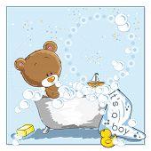 It's a boy - announcement card - Little bear bathing poster