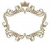 Retro frame with royal crown and flowers for wedding or heraldry design poster