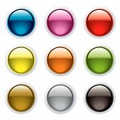Set of nine gel filled buttons with a white surround and reflection poster