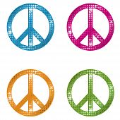 A set of glittering peace signs in four different colors. poster