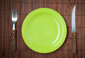 Empty Dinner Plate, Knife And Fork.