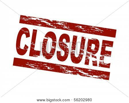Stylized red stamp showing the term closure. All on white background.