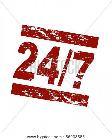 Stylized red stamp showing the term 24/7. All on white background.