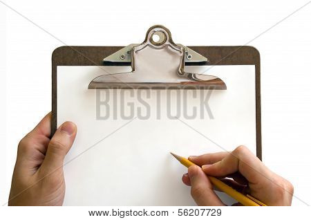hands holding a clipboard