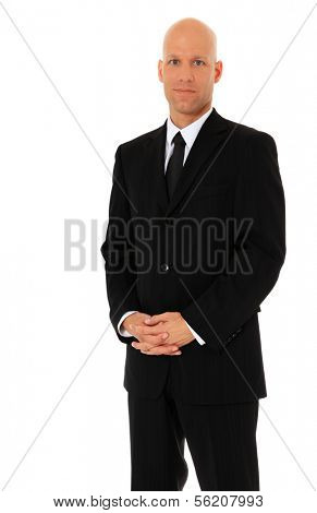 Attractive businessman wearing black suit. All on white background.