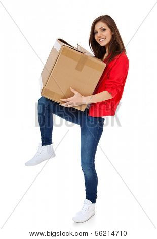 Attractive teenage girl carrying moving box. All on white background.
