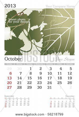 October 2013 A3 calendar - vector illustration