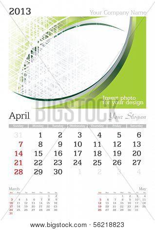 April 2013 A3 calendar - vector illustration