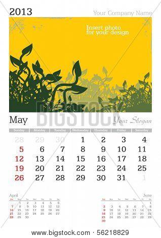 May 2013 A3 calendar - vector illustration