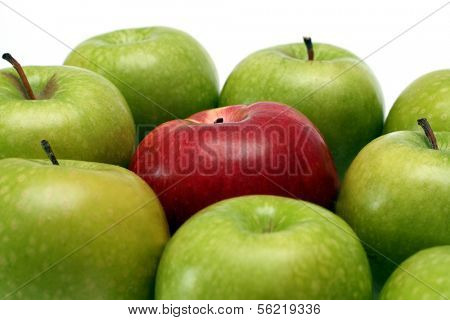 separation concepts - red apple between green apples