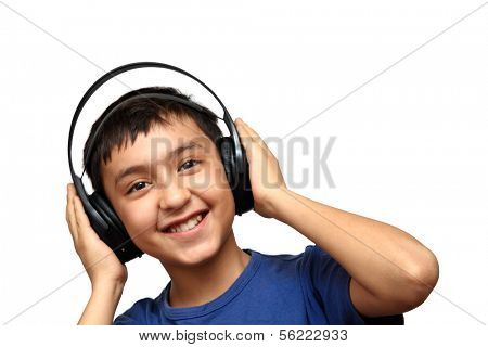boy listening music in headphones isolated on white poster