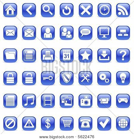 Set of 42 blue icons for Web. poster