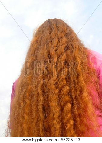 woman back with beautiful red hair
