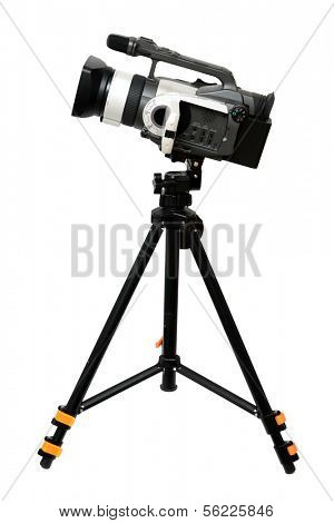 video camera on tripod isolated over white