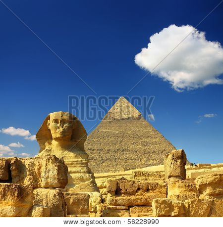 famous ancient egypt Cheops pyramid and sphinx in Giza poster