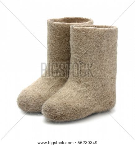 valenki - russian felt boots  on white background