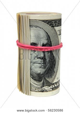 roll of 100 dollar bills, tie blind eye to Franklin - the concept of bribery