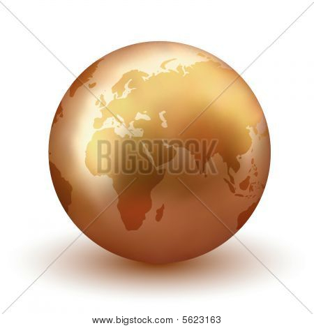 Golden Earth Globe