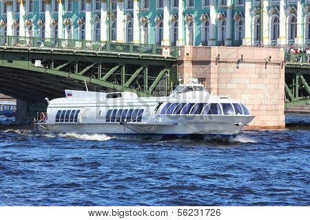 meteor - hydrofoil boat on Neva river in St. Petersburg Russia poster