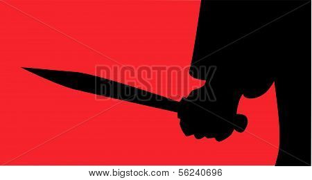 The hand of Jack the Ripper holding his knife poster