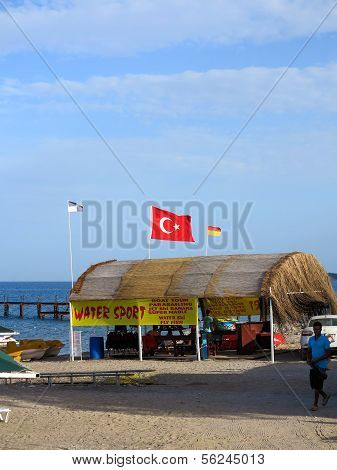 Turkish Flag Flying On The Beach
