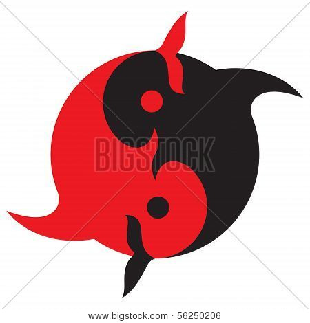 The stylized image of Yin and Yang as two fish poster