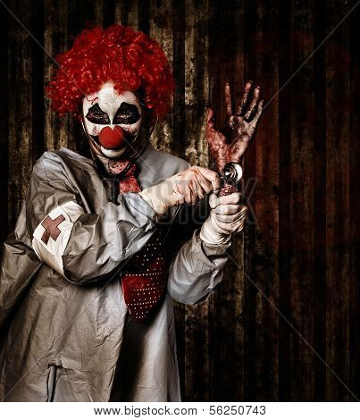 Monster Clown Checking The Pulse On A Severed Hand