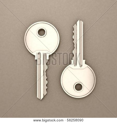 Keys  isolated on grey. 3d illustration.