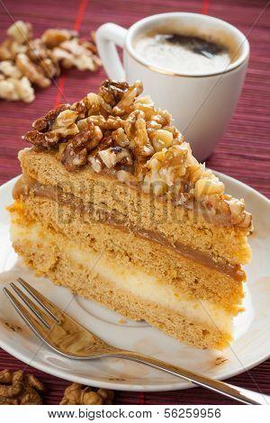 Walnuts cake and coffee