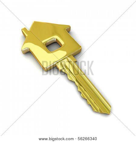 Golden key. 3d illustration