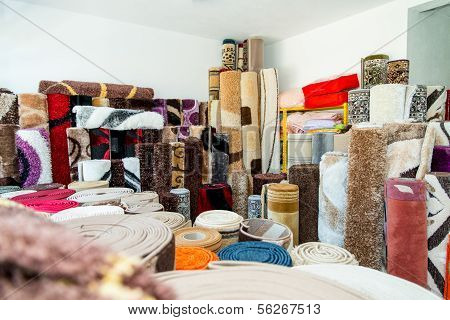 Rolled Rugs Inside A Rug Store
