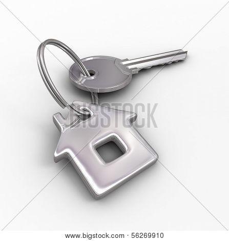 Key of dream house isolated on white. 3d illustration.