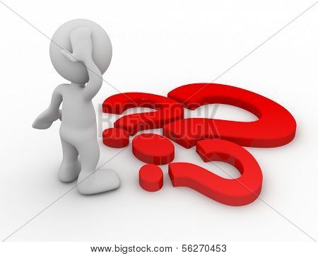 3d human with a red question marks. 3d illustration.
