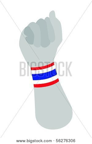 Human Hand Clenched Fist With Thai Wristband