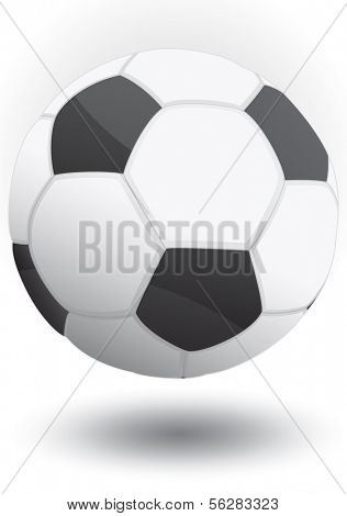 Vector illustration of a soccer ball (classic football). All objects and details are isolated.  White background color is easy to adjust/customize. Shadow and reflection effect is optional.