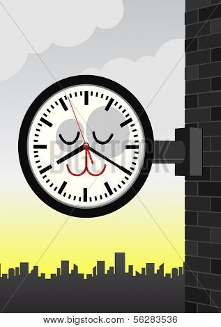 Vector cartoon illustration of a cat character train-station clock. All vector objects and details are isolated and grouped. Colors and background color are easy to adjust.