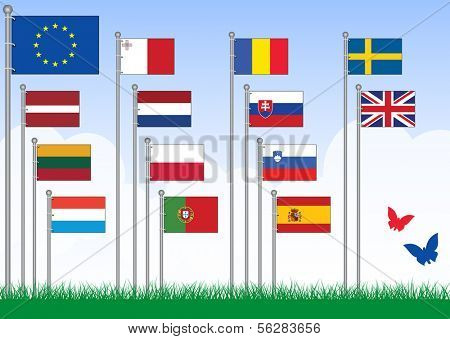 Vector set B of 14 flags from the EU. All objects are grouped and tagged with the country name. This set belongs to set A with remaining EU flags.